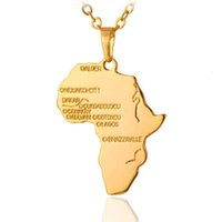 Wholesale Country Maps - New Fashion Unisex Wonderful Africa Map Jewelry Silver Gold Plated African Country Pendant Necklace Gift Free Shipping
