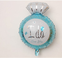 Wholesale Large Decoration Wedding Rings - I DO Alphabet air balloons birthday Party wedding Decoration Large diamond ring Mylar Foil Balloon pink Balloons home DIY Supplies wholesale