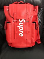 Wholesale Supreme X L V Red Jiont Limited Backpack M41709 Real Leather Christopher Release Hottest Sale Outdoor Bags Authentic