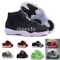 Wholesale Cheap Silver Shoes Rhinestones - (With Box) Cheap New air retro 11 XI wool mens basketball shoes sneakers Women varsity red navy blue Closing Ceremony Sports space jam shoes