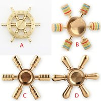 Copper Boat Rudder Fidget Hand Spinner Edc Decompression Toy Helmsman Fidget Spinner Steering Wheel Design 6 Arms Fidget Toy Epacket gratuitement