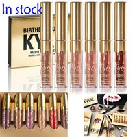 Wholesale Gold Gloss - NEW Gold Kylie Jenner lipgloss Cosmetics Matte Lipstick Lip gloss Mini Leo Kit Lip Birthday Limited Edition with gold retail packaging