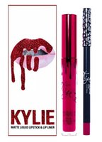 Hochwertige Kylie Lip Lipkit Velvetine Liquid Matte Lippenstift in Red Velvet Make-up Lip Gloss Mixcolor VALENTINE KOPF ÜBER FÄLLE