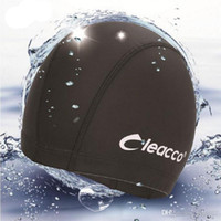 Wholesale Waterproof Fabric Swim Cap - 2017 New Adults Elastic Waterproof PU Fabric Protect Ears Long Hair Sports Swim Pool Hat Swimming Cap Free Size Free Shipping