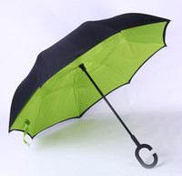 Wholesale Down Double Green - Green Windproof Reverse Closing Double Layer Inverted Umbrella and Inside Out Upside Down Rain Protection ultraviolet-proof Umbrella
