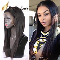 pelucas indias del pelo mujeres negras al por mayor-130% densidad media parte sedoso recto pelucas llenas del cordón para las mujeres negras 100% sin procesar indio pelo humano pelucas delanteras del cordón pelo Bella