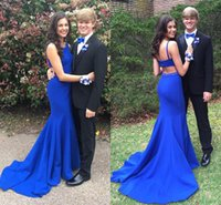Wholesale Green Bateau Spaghetti - 2017 Royal Blue Two Pieces Prom Dresses Vestidos De Fiesta New Spaghetti Straps Elegant Beaded Crystals Evening Party Gowns