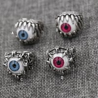 HOT Men's Vintage Dragon Claw Evil Eye Skull Ring imitant Stainless Steel Biker Anneau Devil Eyeball Halloween Party Props Men Jewelry