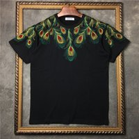 Wholesale Peacock Mens - 2017 summer Newest Brand t-shirt Men's marcelo burlon Embroidered peacock wings T-shirt Mens cotton round Short Sleeve Tee Tops Male T shirt
