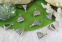 Wholesale Tibetan Silver Connectors Bails - 400PCS Tibetan silver triangle bail charm Carriers A10525