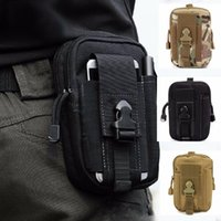 Wholesale Multi Camo Pouch - Outdoor Sports Multi-Purpose Nylon Utility Tactical Waist Pouch Poly Tool Holder EDC Pack Camo Bag For Camping, Running, Travelling Black