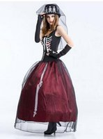 Wholesale Ghost Suit - 2017 new Halloween skull ghost bride costume adult make-up party party dress skirt ghost zombie game uniform suit