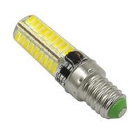 Wholesale 12v Ac Bulb Edison Led - Pack of 10, E14 LED Bulb AC DC 12V-24V 5W 520LM 72pcs 5730 SMD Silica Gel Transparent Daylight Light Chandelier Reading Lamp WHITE   WARM