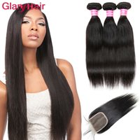 Les meilleurs articles de vente Peruvian Straight Virgin Human Hair Weaves Closure 3 Bundles avec Top Lace Closure Cheap Wholesale Price just for you