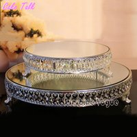 Wholesale Cake Tools 18 Sets - 18 inch Crystal beads cake stand silver gold plated mirror surface dessert stand 12'' wedding party table decoration baking tool