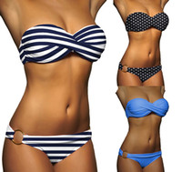 Wholesale Padded Top Bottom Swimsuit - 2017 Sexy Women Vintage Dotted Bottom Print Padded Bra Top Bikini Set Low Waist Beachwear Navy stripe Swimsuit Swimwear