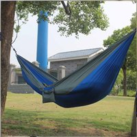 Wholesale Hammock Swing Nylon - Wholesale- Portable Parachute Nylon Fabric Garden Hammock Outdoor Travel Camping Swing For Double Two Persons Sleeping HangNet Bed EJ8788