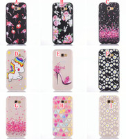 Wholesale Diamond Flower Phone Cases - Cartoon Flamingo Soft TPU Case For Samsung Galaxy A3 A5 A7 J3 J5 J7 2017 Pro J330 J530 J730 Unicorn Flower Diamond Transparent Phone Cover