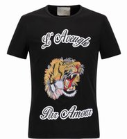 Wholesale Tee Shirt Collar Design - 2017 NEW Hot Sale T-Shirt Men Shortsleeve Cotton Jersery Tee Men's Brand Design Printed Tiger Bird Snake Crew Collar Casual Tops Male