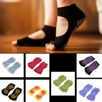 Wholesale Black Half Socks - Wholesale-1Pair Comfort Durable Pilates Socks Half Toe Ankle Grip Five Finger No-Slip Fashion Women Wear