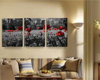 Wholesale Wall Art Wood Panels - 3 Panels Woods Flower Red & Gray Landscape Canvas Painting Home Decor Canvas Wall Art Picture Digital Art Print for Room Wall