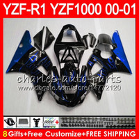 1999 r1 için fairings toptan satış-YAMAHA YZF1000 YZFR1 00 01 98 99 için Kaporta YZF-R1000 Gövde 74HM19 Mavi alevler YZF 1000 R 1 YZF-R1 YZF R1 2000 2001 1998 1999 Fairing Kit