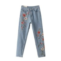 Wholesale Women Embroidery Jeans Wholesale - Wholesale- Fashion Vintage Flower Embroidery Women Light Blue Casual Pants Pockets Bottom Straight Jeans