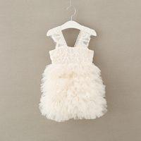 Wholesale Childrens Girls Princess - 2017 Baby Girls Lace Luxury Dresses Kids Girls Pom Pom Party dress Babies Princess tutu Dress Childrens Summer clothing