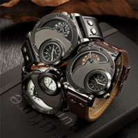 Wholesale Oulm Military - Oulm Watch Man Quartz Watches Top Brand Luxury Leather Strap Military Sport Wristwatch Male Clock