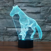 LED Cute Animal Horse 3D Visual LED Night Light Acrylique 7 couleurs Gradient USB Desk Lamp Children Holiday Gift -244
