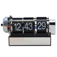 Wholesale Style Table Clock - Wholesale- Table Alarm Flip Clock Antique Retro Style Digital Dynamic With Alarm Clock Gift Desk Table Gear Operated Auto Flip Clock