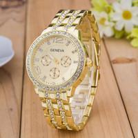 Wholesale Geneva Crystal Watches - Fashion Luxury Roman Numerals Dial Watch Geneva Crystal Watch Male Female Casual Metal watchband Quartz Wristwatch Relogios Feminino Clock