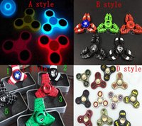 Wholesale Iron Man Plastic - Luminous Hand Spinner Fingertips Spiral Fingers Gyro Toys Fidget Spinner Glow In The Dark or Metal Captain America Iron Man Hand Spinner