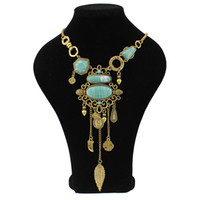 Wholesale Leaves Coins Necklace - Ethnic Style Fashion Turquoise Gem Coin Leaves Vintage Gold Silver Plated Tassel Necklace Pendant Statement Jewelry for Women