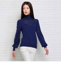 Wholesale Low Priced Wool Sweaters - Wholesale- LOWEST PRICE Hot Sales Hollow high collar Cashmere Sweater Slim pullover Sweater Bubble Sleeve WOOL Sweater Free Shipping