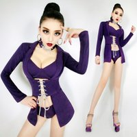 Wholesale Led Bra Costume - Purple jacket sexy bra shorts female suit leading dance nightclub bar stage costumes singer teams performance outfit Christmas party show