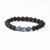 New Design Moda Jóias Atacado 10pcs / lot Men's Beaded Bracelet Black Lava Stone Stretch Yoga Pulseiras