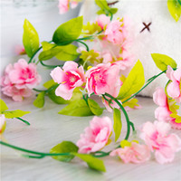 Cherry Blossom Vine Cereza Artificial 230 cm de largo Fake Sakura Vines para el banquete de boda Home Decorative Wall Hanging Flowers