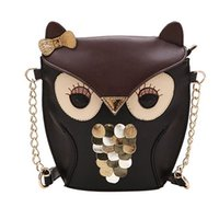 Wholesale Messenger Product - Wholesale- 2016 Fashion Product Girl's Owl Sequins Faux Leather Splicing Chain Shoulder Cross Body Messenger Bag