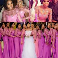 Wholesale Wedding Flower Girl S - African Bridesmaid Dresses Long Black Girls Sheer Neckline Lace Top Wedding Guest Dress Formal Wear Plus Size Mermaid Prom Dress