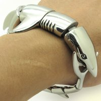 Wholesale Shark Chain - Wholesale-High-quality New Stylish Men's Gothic Shark Bracelet Solid Silver 316L Stainless Steel Bangle Punk Rock Jewelry, Free Shipping
