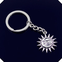 Wholesale 25mm Square Ring - new-fashion-men-30mm-keychain-DIY-metal-holder-chain-vintage-double-sides-sun-moon-28-25mm key rings