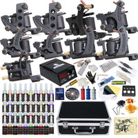 Wholesale Dragonhawk Inks - Dragonhawk High Quality Complete Tattoo Kit 9 guns liner and shader 40 color inks Power supply D23GD-13
