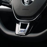 vw passat lenkrad großhandel-Aluminiumlegierung R Rline Logo Lenkrad Pailletten Aufkleber Aufkleber für VW Golf 7 Passat Touran Polo Styling Zubehör