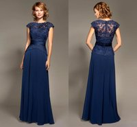 Wholesale Inexpensive Long Sleeve Dresses - 2017 Inexpensive Plus Size Short Sleeves Long Royal Blue Lace Chiffon Mother Dressr Of The Bride Dresses HY1092