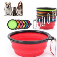 Wholesale Dish Folding - Silicone Folding dog bowl Expandable Cup Dish for Pet feeder Food Water Feeding Portable Travel Bowl portable bowl with Carabiner KKA2154