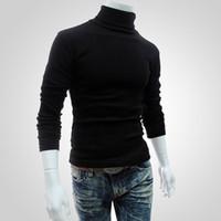 siyah erkekler kazak toptan satış-Erkekler Dip Tops Güz İnce Kazak Sıcak Sonbahar Balıkçı Yaka Kazak Siyah Kazaklar Giyim Adam Için Pamuk Örme Kazak Erkek Kazak