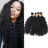 Wholesale Deep Wave Braid Hair - 4 Bundles Bulk Human Hair for Braiding Deep Wave Malaysian Human Hair Bulk No Weft FDSHINE HAIR