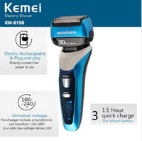 Wholesale Blade Lcd - Kemei8150 4-Blade Cutting System LCD Display Electric Shaver Razor 1.5 Hour Quick Charge Electric Shaver 100-240v Fully Washable