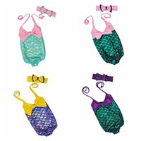 Wholesale Summer Baby Girl Bathing Suits - 2017 Summer Kids Swimwear One Piece Children Swimsuit Baby Girls Mermaid Bathing Suit with Headband Headwear Bow Baby Swimming Clothing Sets